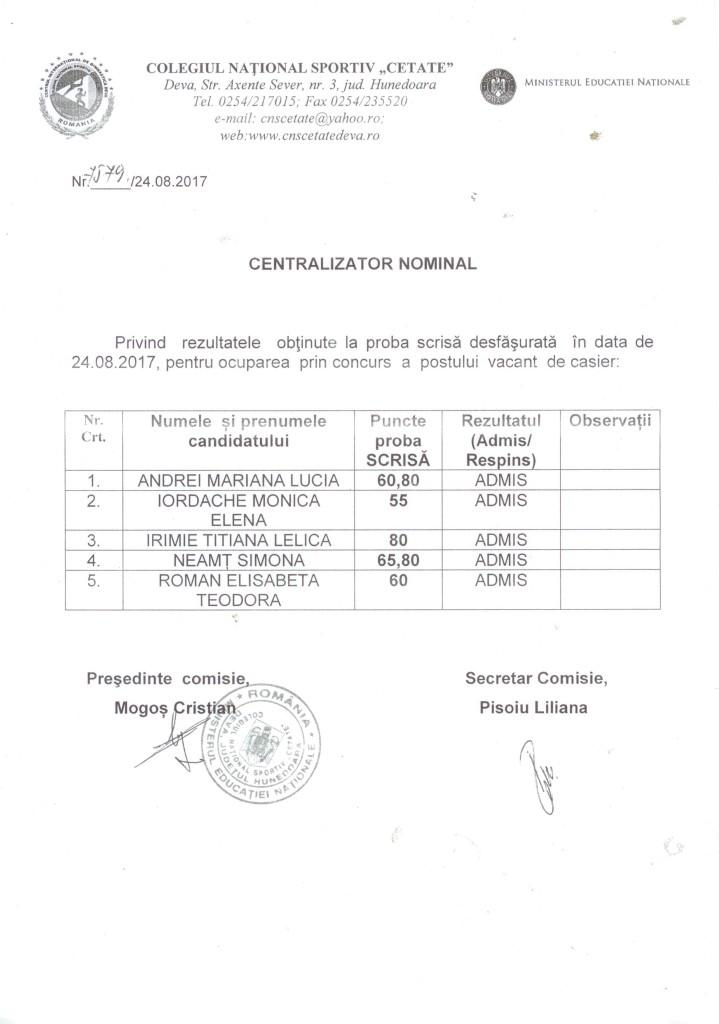 REZULTATE CONCURS CASIER